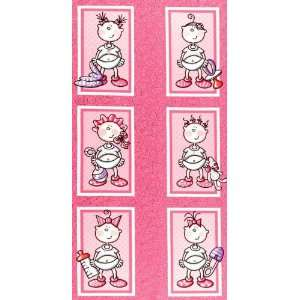 Wide Moda Funny Babies Girls Panel Rattled Pink Fabric By The Panel