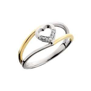 10kt Two Tone Gold Heart Diamond Ring Jewelry