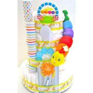 4 Tier Colorful Caterpillar Diaper Cake