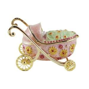 Pink Baby Carriage Trinket Box Bejeweled Baby Girl