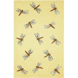 Indoor/Outdoor Hand Tufted Area Rug Dragonfly 5 x 8 Yellow Carpet
