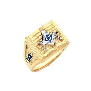 Mens Vermeil Masonic Freemason Mason Ring (Size 9) Jewelry