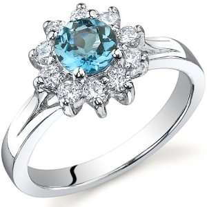 Ornate Floral 0.50 carats London Blue Topaz Ring in Sterling Silver