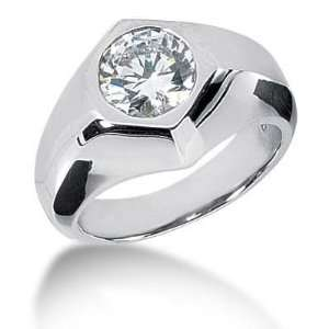 Men s 14K Gold Diamond Ring 1 Round Stone 2.50 ctw 12014