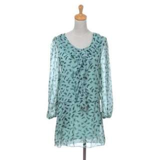 Mint Green Sheer Long Sleeve Kitty Cat Pattern Ruffle Dress Clothing