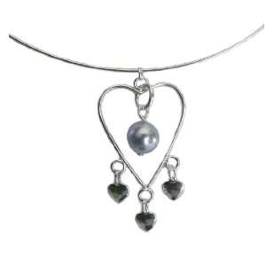 Wire Heart Collar Necklace with Light Blue SWAROVSKI ELEMENTS Pearl