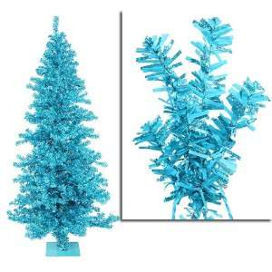 New   9 Pre Lit Sky Blue Wide Cut Tinsel Artificial Christmas Tree
