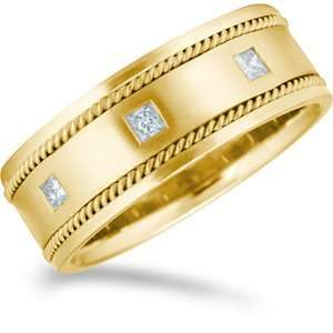 38 Carat 8mm 18kt Yellow Gold Promise Diamonds Wedding Band Jewelry