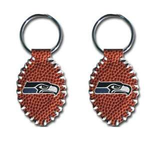 Seattle Seahawks   NFL Stitched Football Shape Key Ring (2 Pack