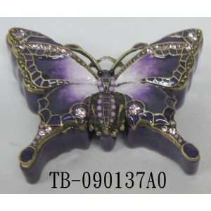 Purple Butterfly Design Jewelry Trinket Box 0.75in H