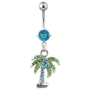 316L Surgical Steel   Belly Ring   Palm Tree   Aqua/Blue