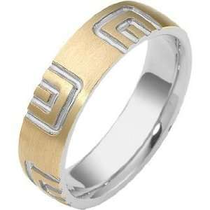 Designer 18 Karat Two Tone Gold Carved Wedding Band   9.75 Jewelry
