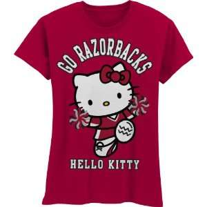 NCAA Arkansas Razorbacks Hello Kitty Pom Pom Girls Crew Tee Shirt