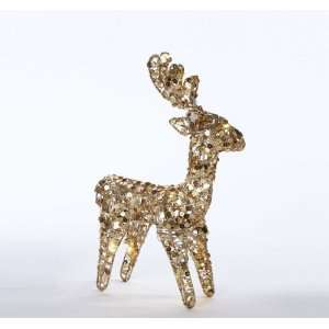 12 LED Lighted Warm White Gold Reindeer Standing Christmas Table Top