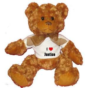 Love/Heart Justice Plush Teddy Bear with WHITE T Shirt  Toys