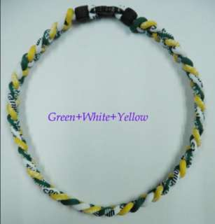 20 Ionic Titanium Baseball Sport Necklace Green&White&Yellow Color