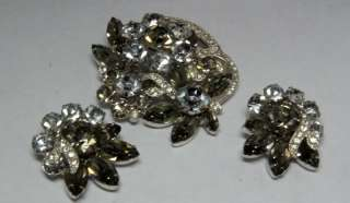for a Vintage Eisenberg Ice Clear Rhinestone Earrings & Pin Brooch Set