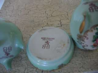 19c hand painted french limoges 3 pieces lighter ashtray and egg